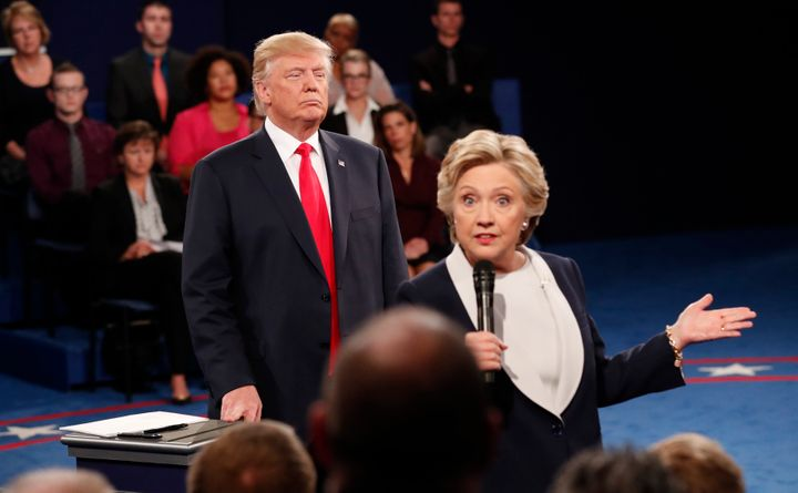 Presidential rivals Donald Trump and Hillary Clinton at the Oct. 9, 2016, debate.