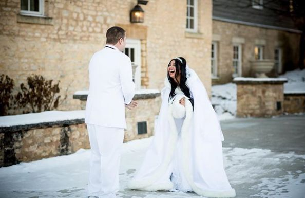 """""""It was cold. Real cold, like 7 degrees cold. But these two braved it for their first look and then we ran back inside when t"""
