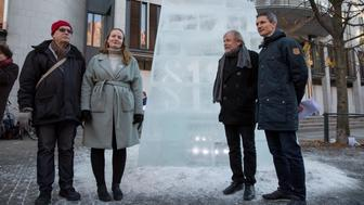 Outside a court in Oslo where a trial has been taking place after the Norwegian government was sued by climate activists over a decision to open up areas of the Arctic Ocean for oil exploration