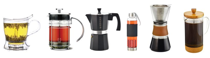 <em>GROSCHE's products include tea infusers, French presses, espresso makers, and coffee and water accessories.</em>