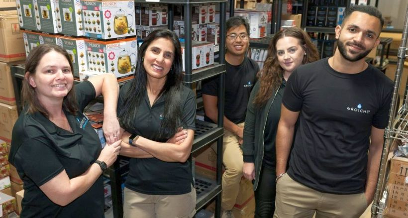 <em><strong>Mehreen Sait (2nd from L) President of GROSCHE International with some of her team in Canada.</strong></em>