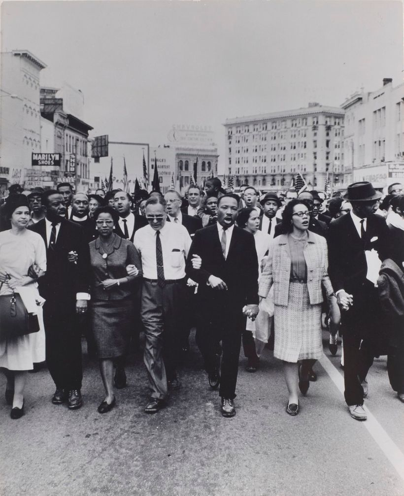 Rosa Parks, Dr. and Mrs. Abernathy, Dr. Ralph Bunche, and Dr. and Mrs. Martin Luther King, Jr. leading marchers into Montgome
