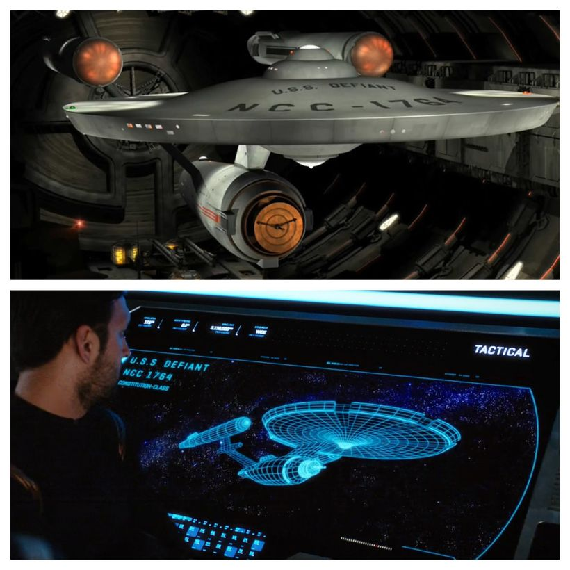 "The U.S.S. Defiant (NCC-1764) as seen being held by the ""Mirror Universe"" Tholians in 2155, and a schematic of the vessel see"