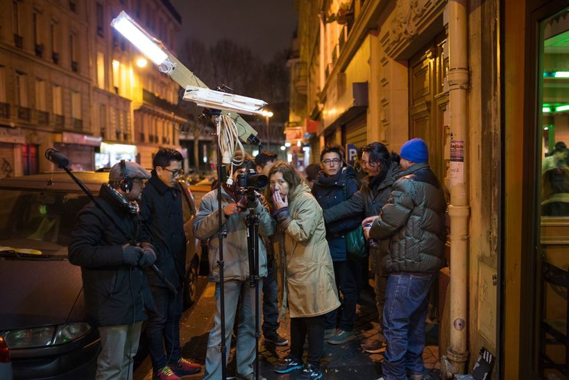 Dazel and her crew on the set in Paris