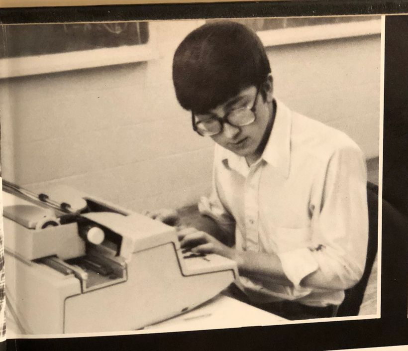 The author as a senior, editing the high school newspaper.