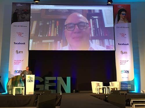 <em>Michael Wolff via Skype at the Global Editors Network's annual conference in June 2017 (Abu-Fadil)</em>