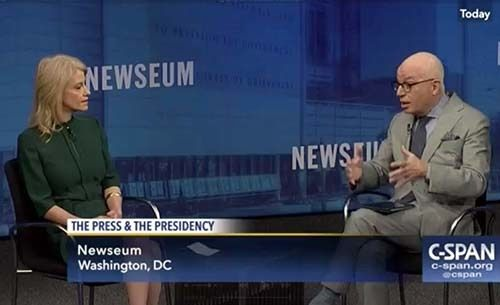<em>Screen shot of Kellyanne Conway and Michael Wolff at the Newseum</em>