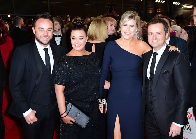 The couple with Ant's TV partner Dec and his wife