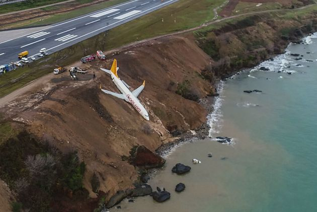 A Pegasus Airlines Boeing 737 passenger plane was stuck in mud on an embankment after landing at Trabzon's...