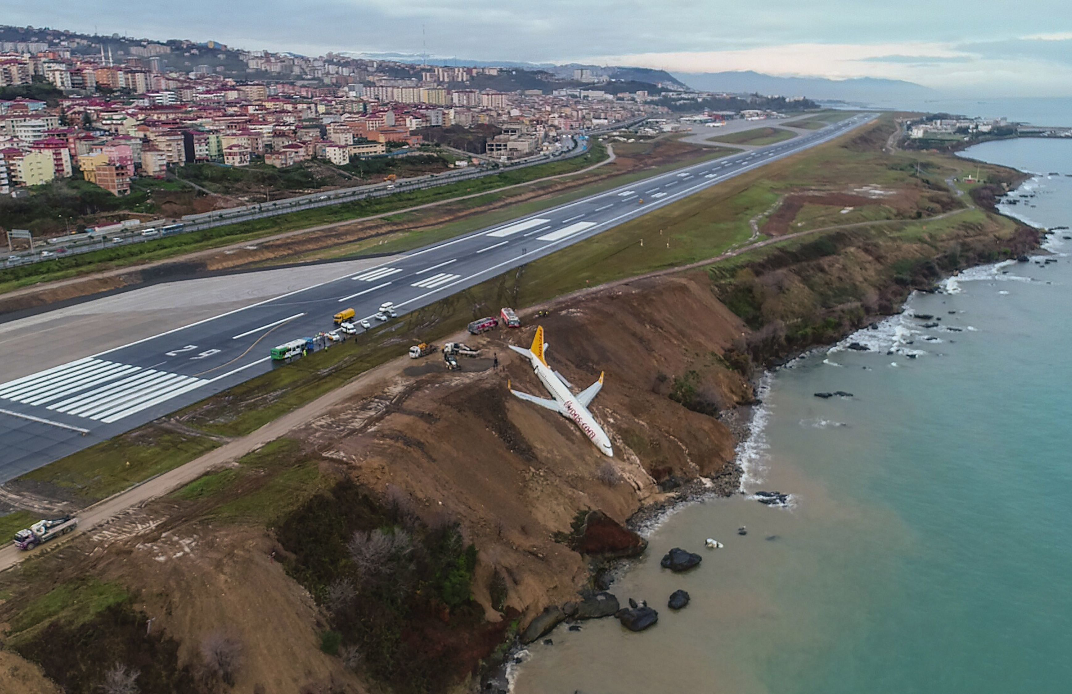TOPSHOT - A Pegasus Airlines Boeing 737 passenger plane is seen struck in mud on an embankment, a day after skidding off the airstrip, after landing at Trabzon's airport on the Black Sea coast on January 14, 2018.  A passenger plane late on January 13 skidded off the runway just metres away from the sea as it landed at Trabzon's airport in northern Turkey. The Pegasus Airlines flight, with 168 people on board, had taken off from Ankara on its way to the northern province of Trabzon. No casualties were reported.  / AFP PHOTO / IHLAS NEWS AGENCY / STRINGER / Turkey OUT        (Photo credit should read STRINGER/AFP/Getty Images)