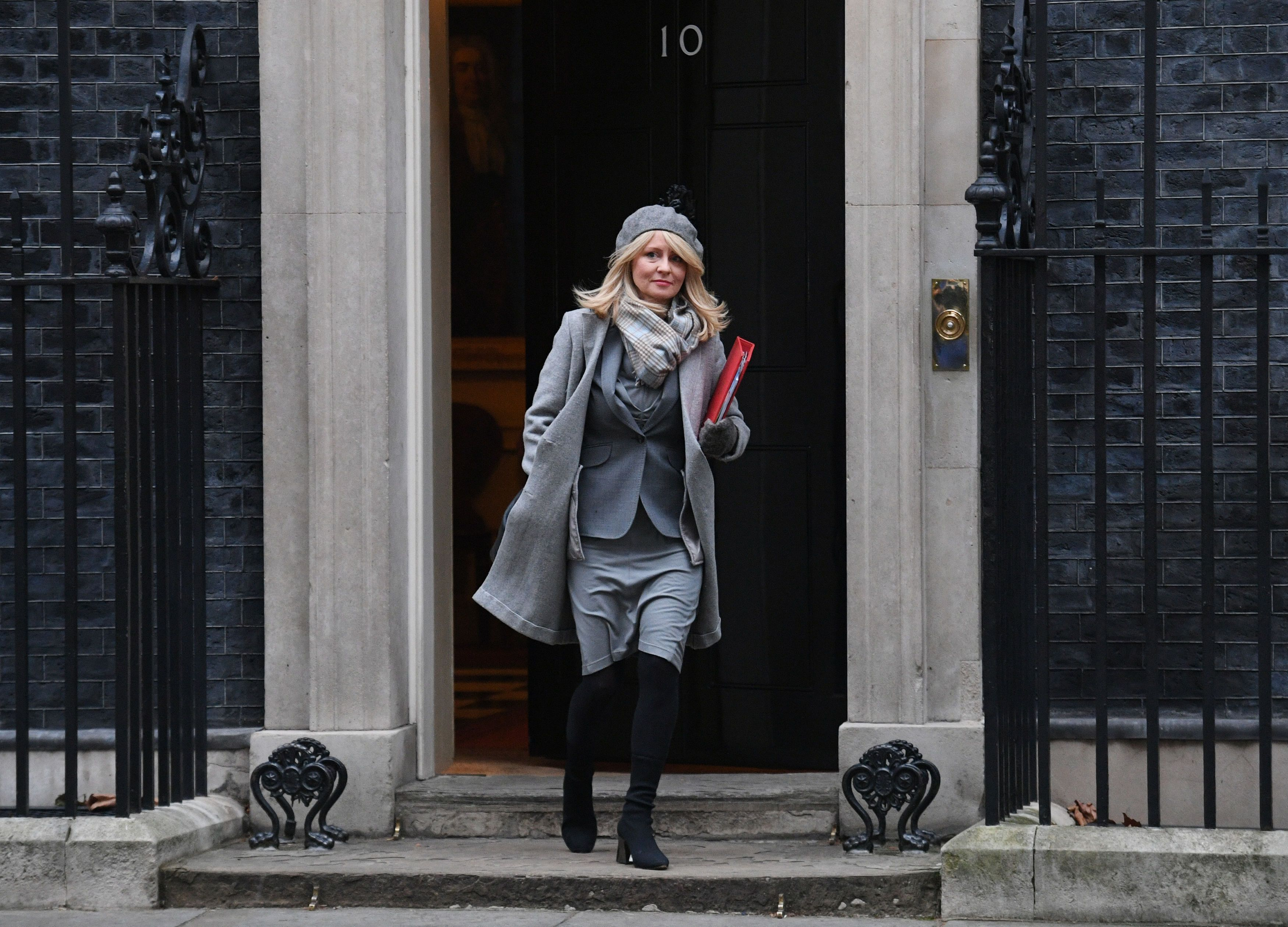 Work and pensions secretary Esther McVey leaves No.10 Downing Street after being promoted by Theresa May last week.