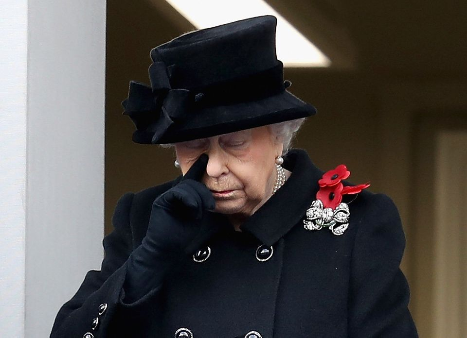 The Queen as she watches Prince Charles lay a wreath at the Cenotaph on Remembrance Sunday, 2017, the...