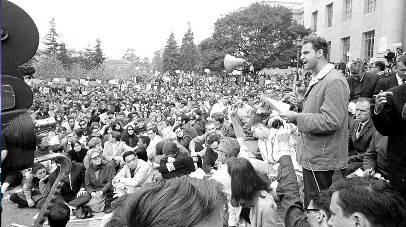 "<strong>Mario Savio, an early member of the Berkeley Free Speech Movement, delivering his ""Put your bodies upon the gear"