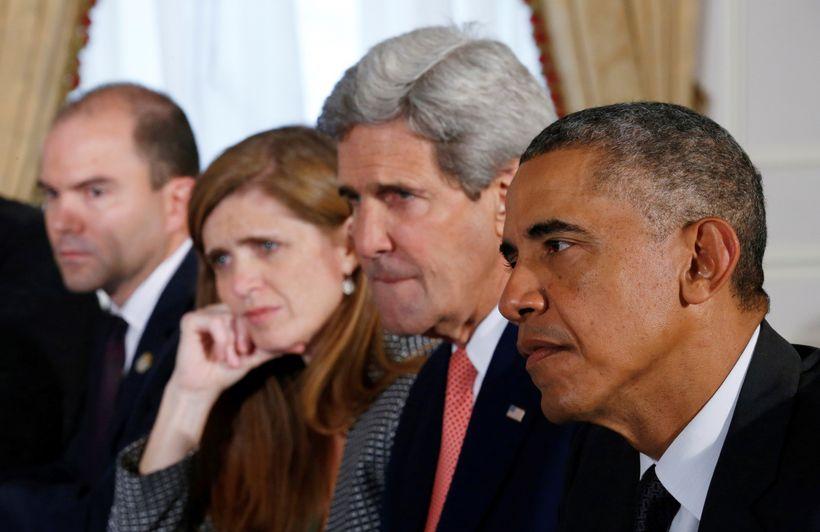 Deputy National Security Advisor Ben Rhodes, UN Ambassador Samantha Power, Secretary of State John Kerry, and President Barac