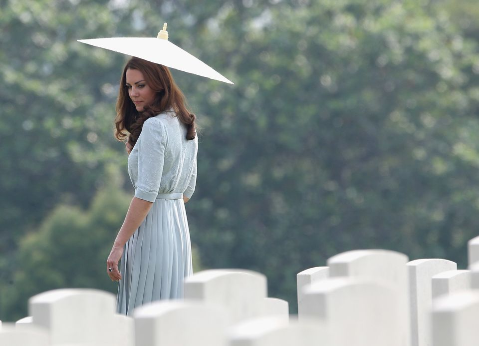 Jackson captures the Duchess of Cambridge glancing back at war graves at the Kranji Commonwealth War...