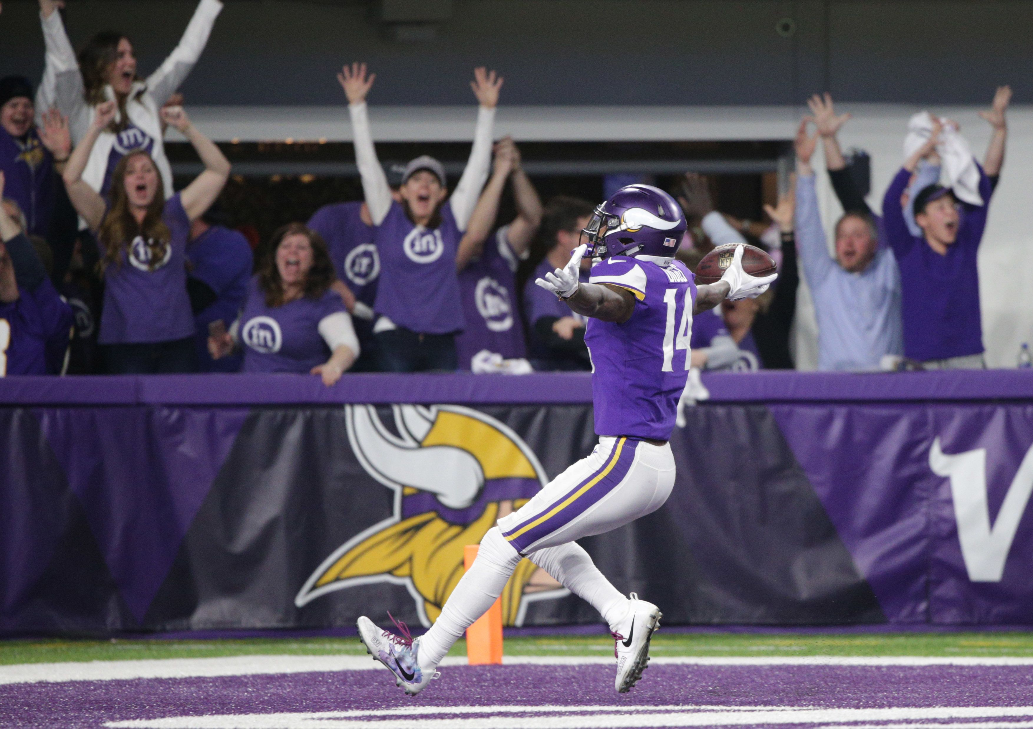 Jan 14, 2018; Minneapolis, MN, USA; Minnesota Vikings wide receiver Stefon Diggs (14) runs for the end zone and scores the winning touchdown against the New Orleans Saints in the fourth quarter of the NFC Divisional Playoff football game at U.S. Bank Stadium. Mandatory Credit: Brad Rempel-USA TODAY Sports