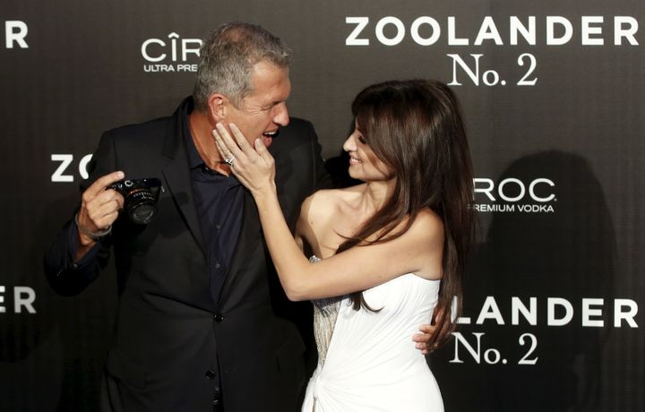"Actress Penelope Cruz and photographer Mario Testino pose during a photo call before a screening of ""Zoolander 2"" in Madrid,"