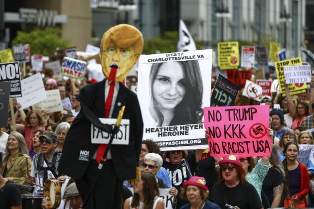 Heather Hayer (pictured in poster) was killed during the Charlottesville