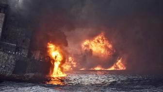 Iranian oil tanker Sanchi is seen engulfed in fire in the East China Sea, in this January 13, 2018 picture provided by Shanghai Maritime Search and Rescue Centre and released by China Daily. China Daily via REUTERS ATTENTION EDITORS - THIS PICTURE WAS PROVIDED BY A THIRD PARTY. CHINA OUT.