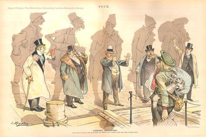 """<p> Looking Backward"""" by Joseph Keppler, 1893 </p>"""