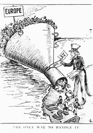 <p>A political cartoon advocating using a quota system to keep out European immigrants who were considered undesirable.</p>
