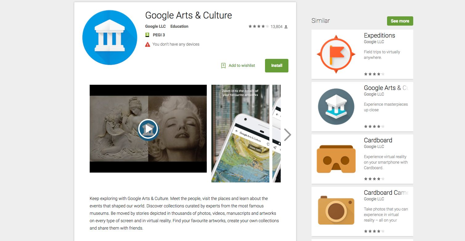 Google's Arts and Culture App to match selfies with artwork