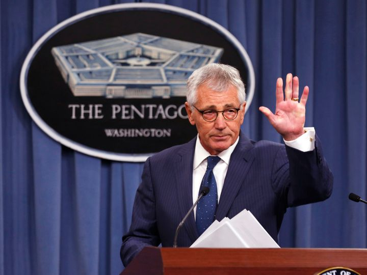 "Former Secretary of Defense Chuck Hagel, pictured in January 2015, called President Donald Trump ""an embarrassment"" in a"
