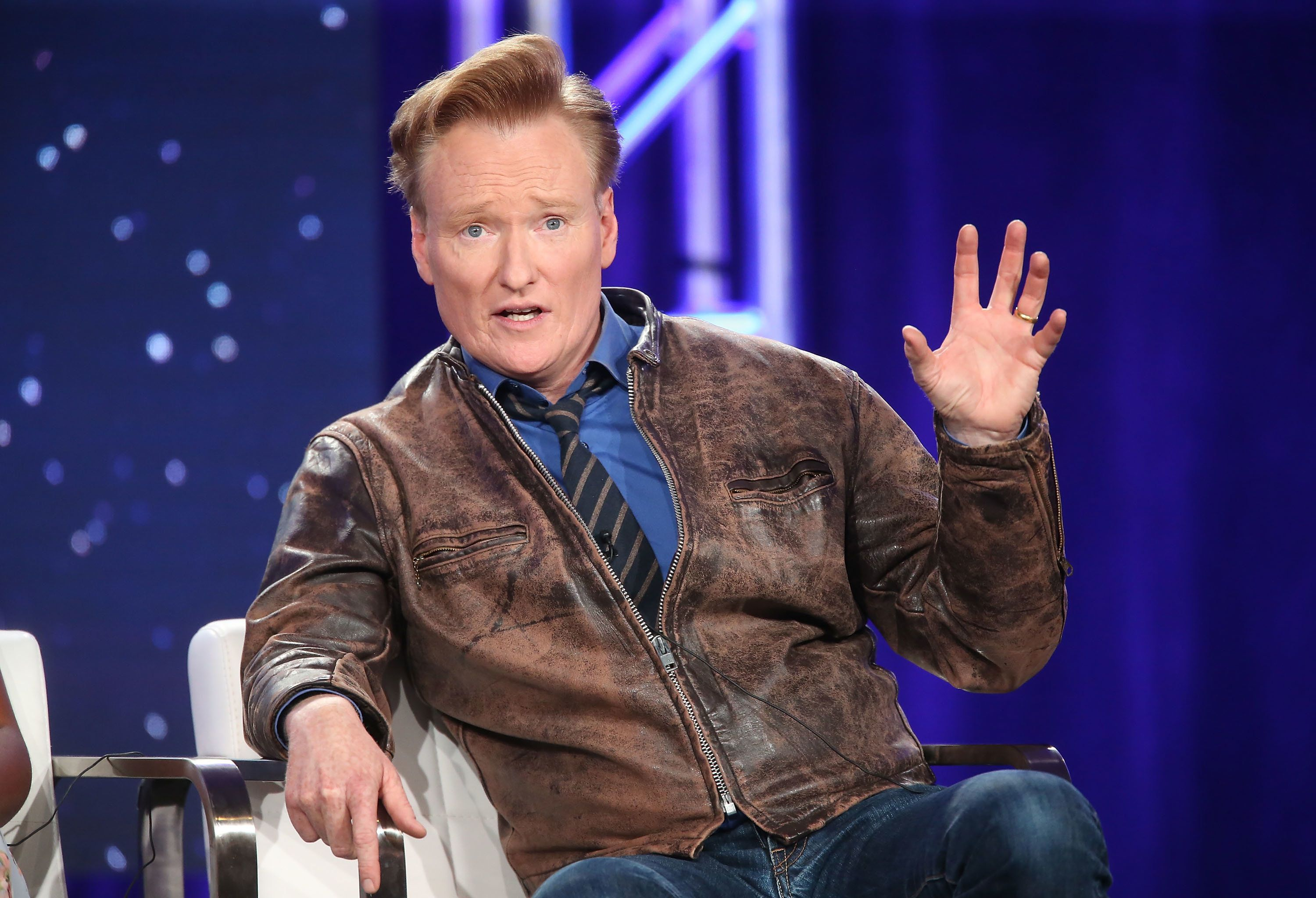 PASADENA, CA - JANUARY 11: Executive producer Conan O'Brien of the TBS television show Final Space speaks onstage during the Turner portion of the 2018 Winter Television Critics Association Press Tour at The Langham Huntington, Pasadena on January 11, 2018 in Pasadena, California.  (Photo by Frederick M. Brown/Getty Images)