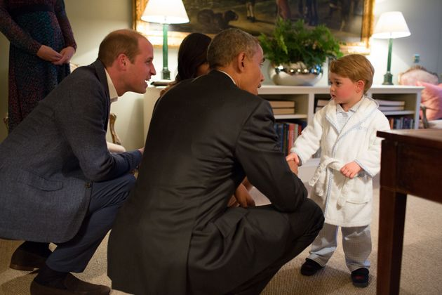 Prince George meeting with the then President of the United States Barack Obama at Kensington