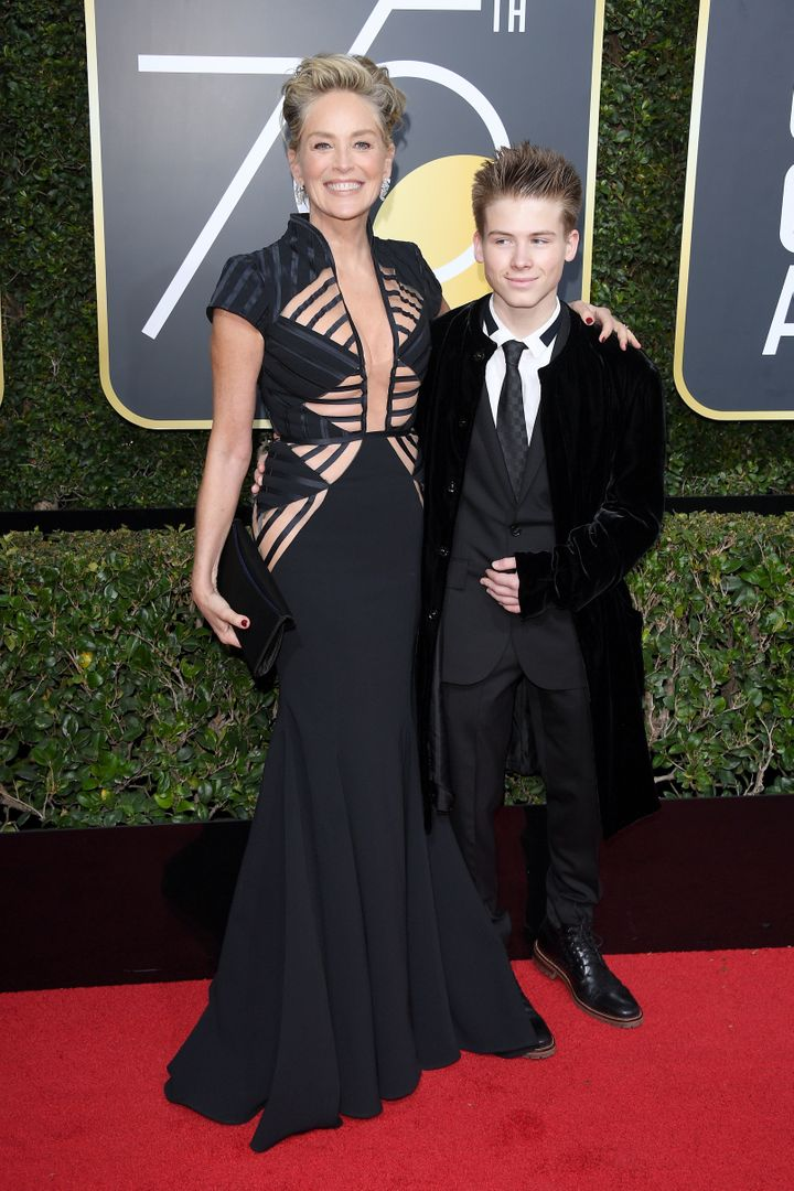 Stone with her son, Roan Joseph Bronstein, at the Golden Globe awards on Jan. 7.