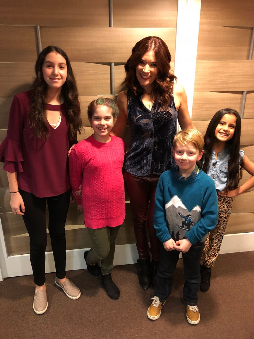 Viewer testers behind-the-scenes! Left to right: Emma, Tara, Tara's brother Owen and Jazzy.