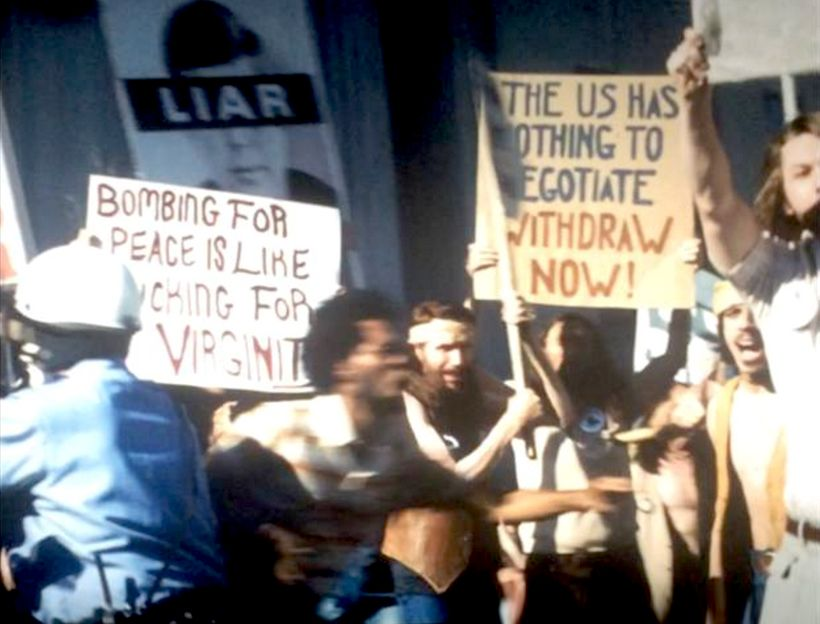 <strong>Antiwar Protesters in The Post demonstrating outside The Washington Post.</strong>