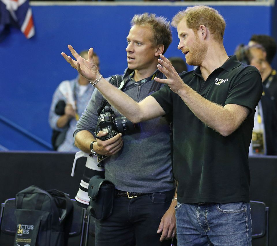 Chris Jackson (left) speaks with Prince Harry at the Invictus Games in Toronto,September
