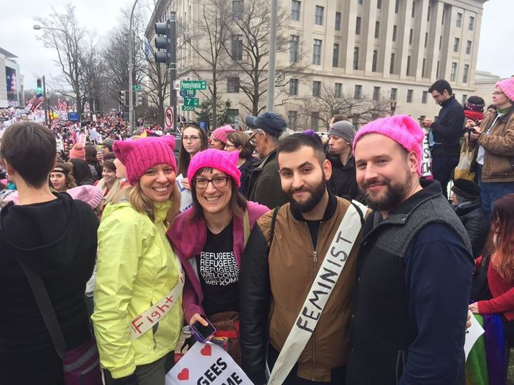 Askaryar participates in the Women's March in 2017.