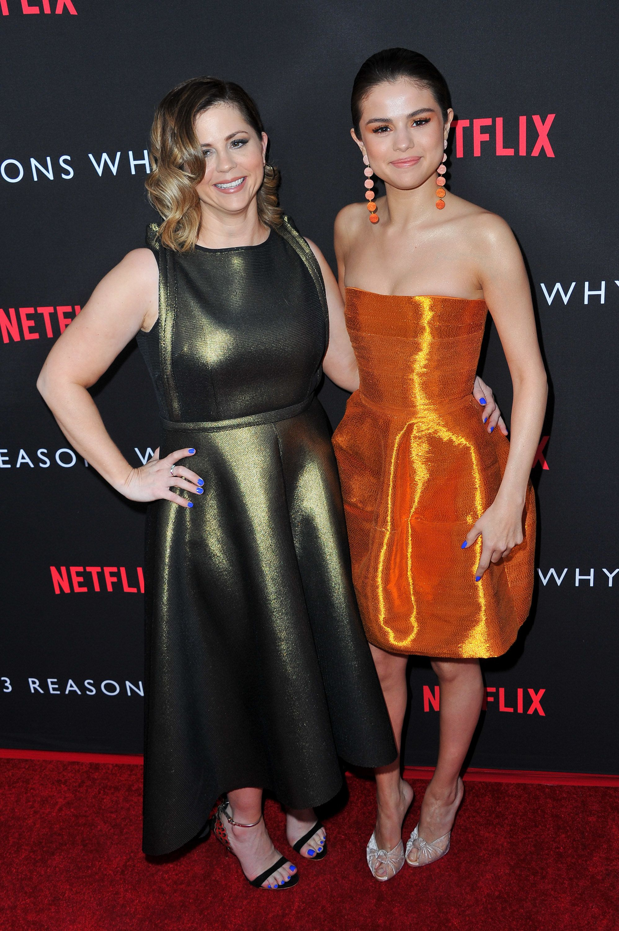 """Themom and daughter at the premiere of """"13 Reasons Why"""" on March 30, 2017."""