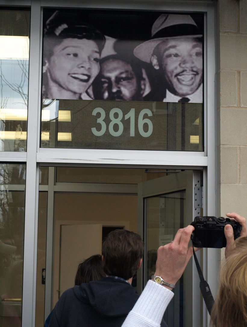 An entrance at the MLK Legacy apartments constructed on Chicago's West Side in the 1500 block of South Hamlin where Dr. King