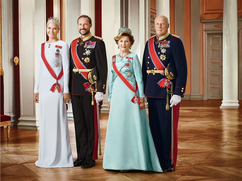 (From L to R) HRH Crown Princess Mette-Marit, HRH Crown Prince Haakon, Her Majesty Queen Sonja and His Majesty King Harald V.