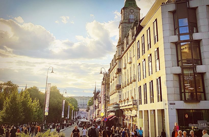 Shopping Karl Johan's Gate, one of Oslo's busiest throrougfares which leads directly to the Royal Palace.