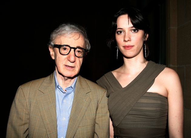 Rebecca Hall (right) poses with director Woody Allen at a film festival in Spain in September