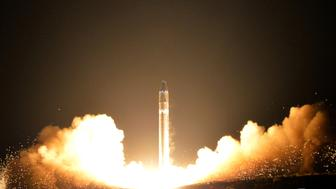 A view of the newly developed intercontinental ballistic rocket Hwasong-15's test that was successfully launched is seen in this undated photo released by North Korea's Korean Central News Agency (KCNA) in Pyongyang November 30, 2017. REUTERS/KCNA ATTENTION EDITORS - THIS IMAGE WAS PROVIDED BY A THIRD PARTY. REUTERS IS UNABLE TO INDEPENDENTLY VERIFY THIS IMAGE. SOUTH KOREA OUT. NO THIRD PARTY SALES. NOT FOR USE BY REUTERS THIRD PARTY DISTRIBUTORS