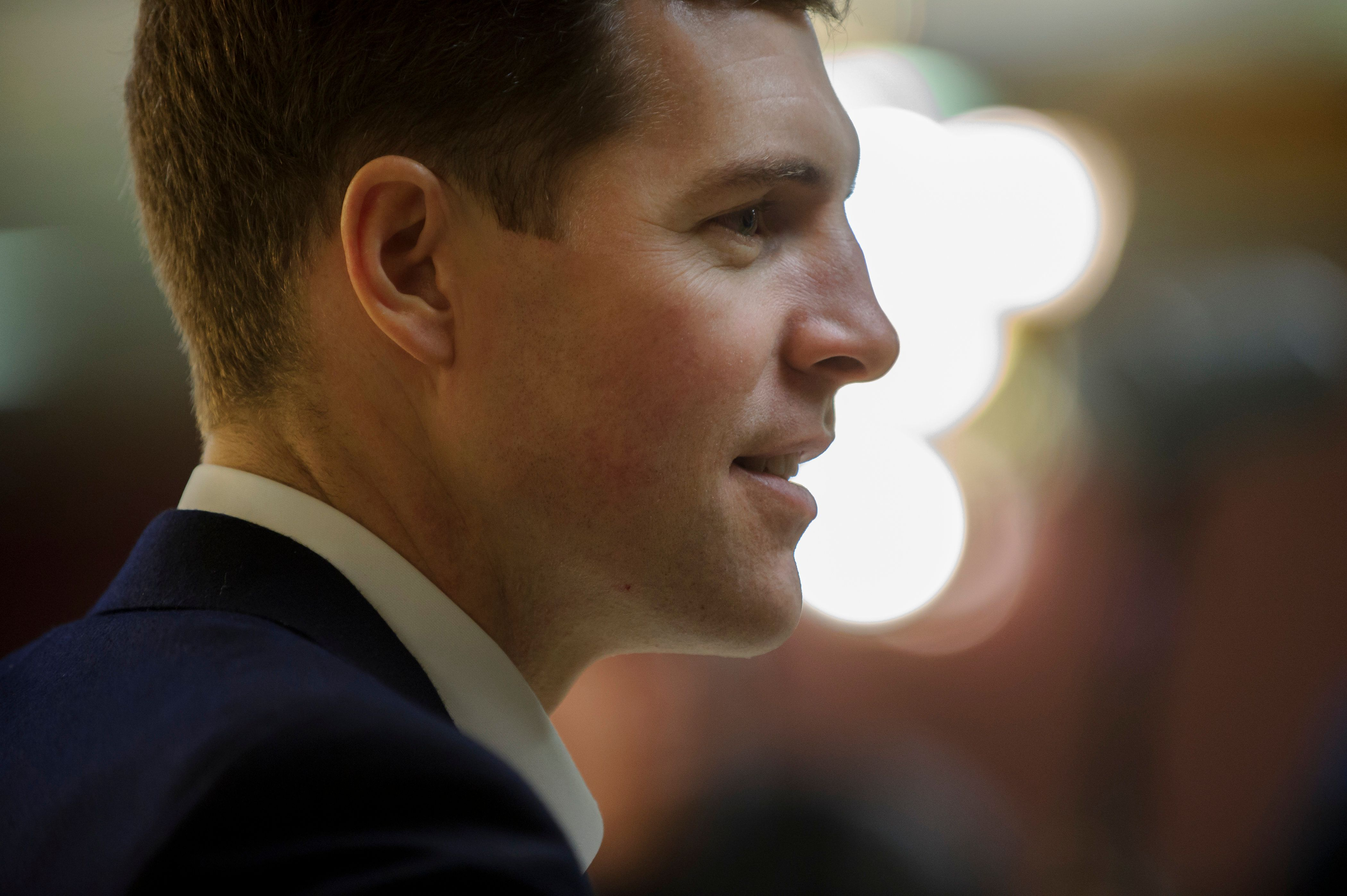 HOUSTON, PA - JANUARY 13: Democrat Conor Lamb, a former U.S. attorney and US Marine Corps veteran running to represent Pennsylvania's 18th congressional district, before a speech to an audience at the American Legion Post 902 on January 13, 2018 in Houston, Pennsylvania in the southwestern corner of the state. President Donald Trump plans to visit Pennsylvania's 18th Congressional District next week in a bid to help Lamb's republican opponent, Rick Saccone. (Photo by Jeff Swensen/Getty Images)
