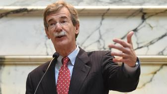 ANNAPOLIS, MD - JANUARY, 6:  Attorney General Brian Frosh makes his remarks after being sworn in as Maryland's 46th Attorney General on January 6, 2015 in Annapolis, MD. (Photo by Jonathan Newton / The Washington Post via Getty Images)