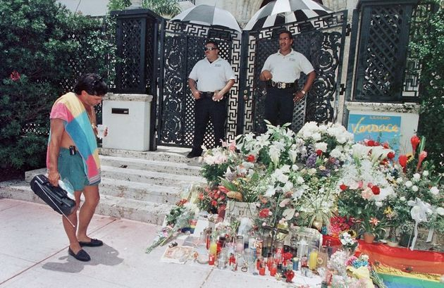 Fans left flowers and notes on the steps where Gianni Versace was fatally