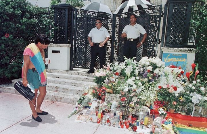 Fans left flowers and notes on the steps where Gianni Versace was fatally shot.