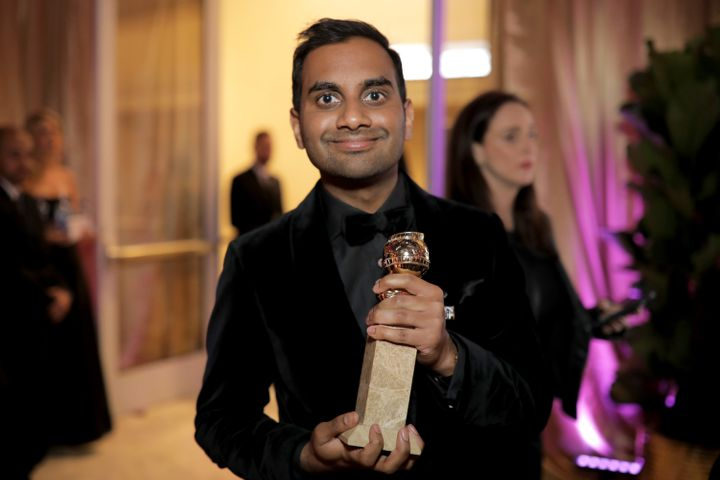 Aziz Ansari, posing with a Golden Globe he won on Jan. 7, said he believed the sexual encounter last year with a woman now ac