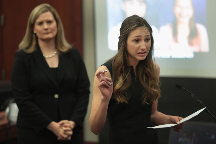 Kyle Stephens gives her victim impact statement during Larry Nassar's sentencing hearing in a Michigan court on Jan. 16.