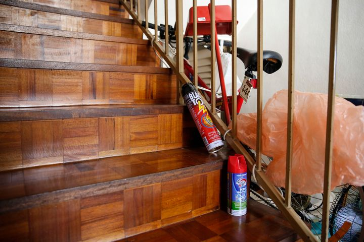Mosquito repellants on the staircase of Oo's house.