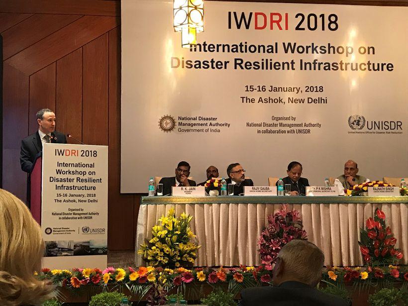 <em>The head of UNISDR, Robert Glasser, speaking at the opening of the international workshop on disaster resilient infrastru