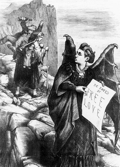 "Victoria was depicted as ""Mrs. Satan"" for her views on Free Love in <em>Harper's Weekly</em>."