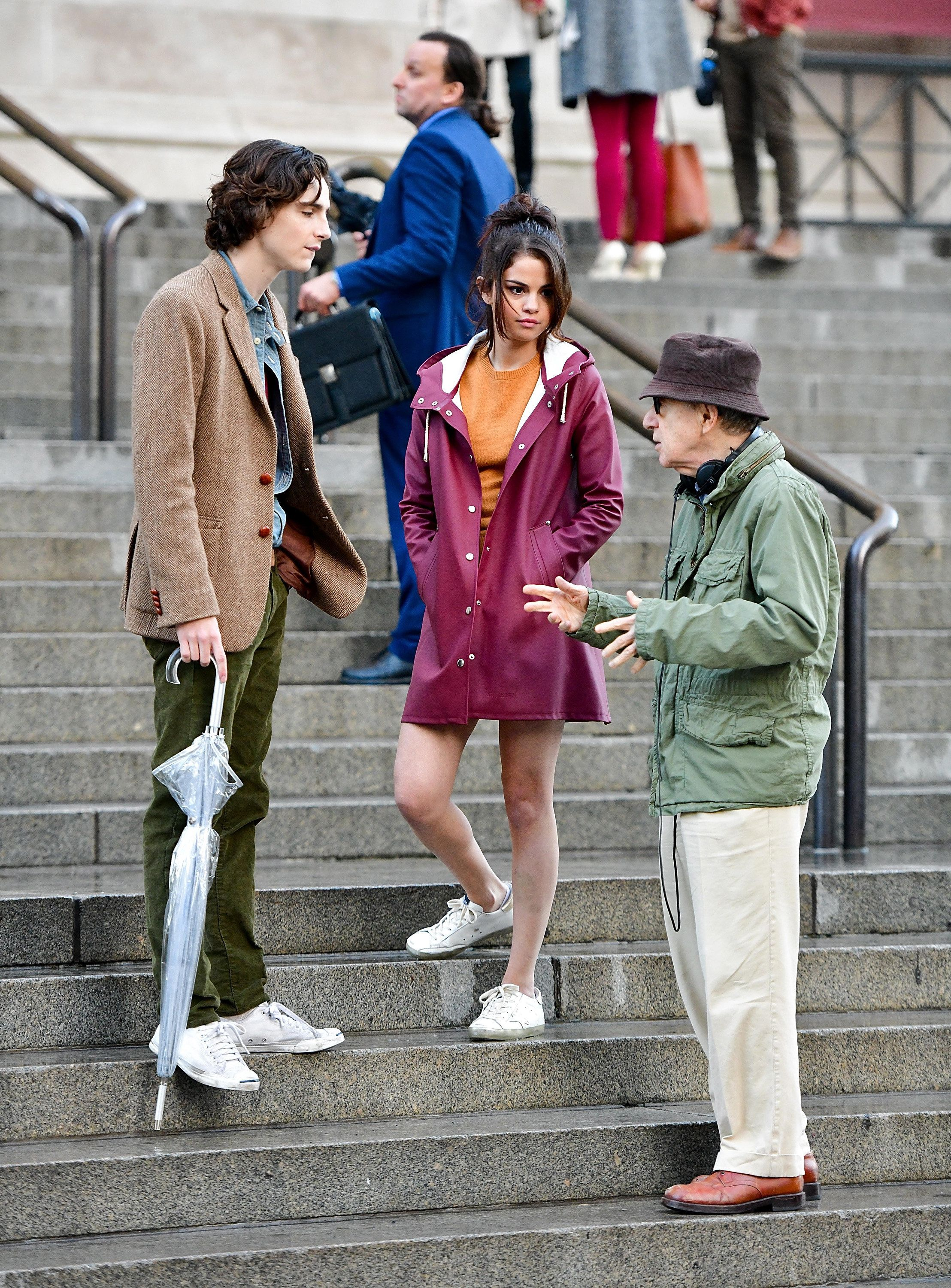 Timothée Chalamet, Selena Gomez and Woody Allen on set.